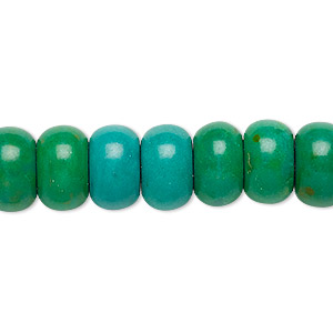 bead, magnesite (dyed / stabilized), kelly green, 12x7mm rondelle, c- grade, mohs hardness 3-1/2 to 4. sold per 15-inch strand.