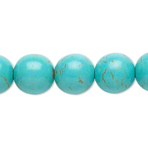bead, magnesite (dyed / stabilized), light blue, 12mm round, c grade, mohs hardness 3-1/2 to 4. sold per 15-inch strand.