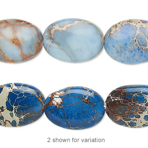 bead, magnesite (dyed / stabilized), light blue, 18x13mm flat oval, b grade, mohs hardness 3-1/2 to 4. sold per 16-inch strand.
