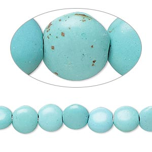 bead, magnesite (dyed / stabilized), light teal green, 7-8mm puffed flat round, c grade, mohs hardness 3-1/2 to 4. sold per 15-inch strand.