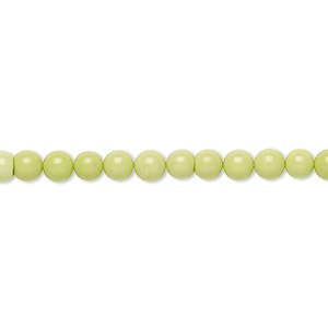bead, magnesite (dyed / stabilized), lime green, 4mm round, b grade, mohs hardness 3-1/2 to 4. sold per 16-inch strand.