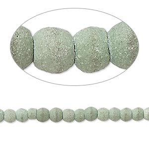 bead, magnesite (dyed / stabilized), matte moss green, 3x2mm-4x4mm rondelle, c- grade, mohs hardness 3-1/2 to 4. sold per 15-inch strand.