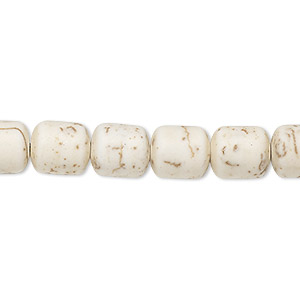 bead, magnesite (dyed / stabilized), matte tan, 9x8mm-10x9mm drum, c grade, mohs hardness 3-1/2 to 4. sold per 15-inch strand.