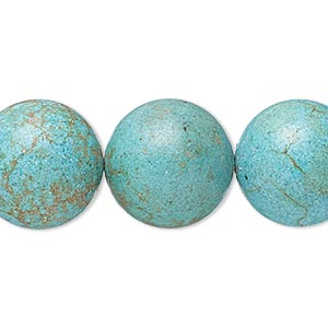 bead, magnesite (dyed / stabilized), matte teal, 17-18mm round, c- grade, mohs hardness 3-1/2 to 4. sold per 8-inch strand.