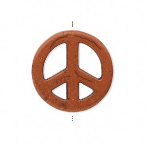 bead, magnesite (dyed / stabilized), orange, 25mm hand-cut peace sign, c+ grade, mohs hardness 3-1/2 to 4. sold per pkg of 10.