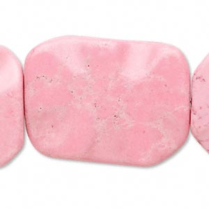 bead, magnesite (dyed / stabilized), pink, 35x25mm wavy flat rectangle, c- grade, mohs hardness 3-1/2 to 4. sold per 15-inch strand.