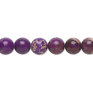 bead, magnesite (dyed / stabilized), purple, 8mm round, b grade, mohs hardness 3-1/2 to 4. sold per 16-inch strand.