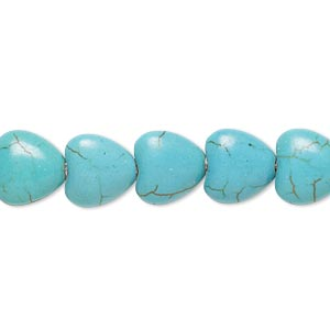 bead, magnesite (dyed / stabilized), teal, 10x10mm puffed heart, b- grade, mohs hardness 3-1/2 to 4. sold per 15-inch strand.