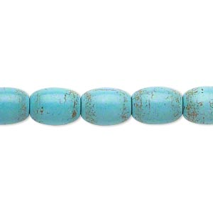 bead, magnesite (dyed / stabilized), teal, 10x8mm-11x8mm barrel, c grade, mohs hardness 3-1/2 to 4. sold per 15-inch strand.