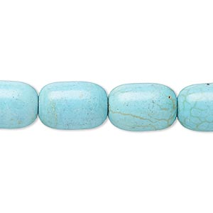 bead, magnesite (dyed / stabilized), teal, 14x10mm capsule, c grade, mohs hardness 3-1/2 to 4. sold per 15-inch strand.
