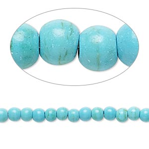bead, magnesite (dyed / stabilized), teal, 3-4mm round, c- grade, mohs hardness 3-1/2 to 4. sold per 15-inch strand.