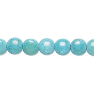 bead, magnesite (dyed / stabilized), teal, 7-8mm puffed flat round, c- grade, mohs hardness 3-1/2 to 4. sold per 15-inch strand.