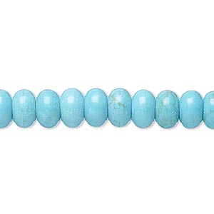 bead, magnesite (dyed / stabilized), teal, 8x5mm-9x6mm rondelle, b- grade, mohs hardness 3-1/2 to 4. sold per 15-inch strand.