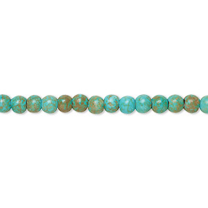 bead, magnesite (dyed / stabilized), teal green, 4-5mm round, c grade, mohs hardness 3-1/2 to 4. sold per 15-inch strand.