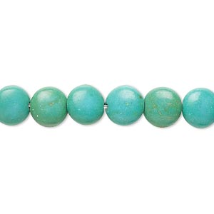 bead, magnesite (dyed / stabilized), teal green, 7-8mm lentil, b- grade, mohs hardness 3-1/2 to 4. sold per 15-inch strand.