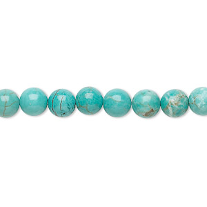 bead, magnesite (dyed / stabilized), turquoise blue, 6mm round, b grade, mohs hardness 3-1/2 to 4. sold per 16-inch strand.