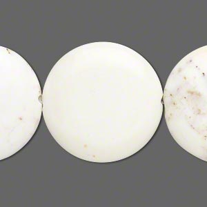 bead, magnesite (stabilized), white, 25-26mm puffed flat round, b grade, mohs hardness 3-1/2 to 4. sold per 15-inch strand.