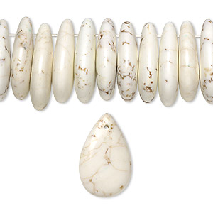 bead, magnesite (stabilized), white, 25x15mm-29x15mm top-drilled flat teardrop, b grade, mohs hardness 3-1/2 to 4. sold per 8-inch strand, approximately 35 beads.