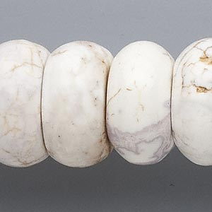 bead, magnesite (stabilized), white, 26x12mm-27x14mm rondelle, c grade, mohs hardness 3-1/2 to 4. sold per 16-inch strand.