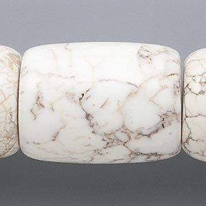 bead, magnesite (stabilized), white, 39x28mm-41x29mm round tube, c grade, mohs hardness 3-1/2 to 4. sold per 17-inch strand.