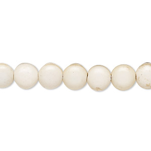 bead, magnesite (stabilized), white, 8mm puffed flat round, c- grade, mohs hardness 3-1/2 to 4. sold per 15-inch strand.