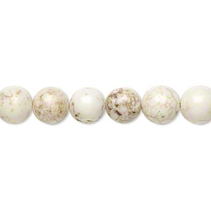 bead, magnesite (stabilized), white, 8mm round, b grade, mohs hardness 3-1/2 to 4. sold per 16-inch strand.