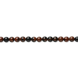 bead, mahogany obsidian (natural), 3mm round, b grade, mohs hardness 5 to 5-1/2. sold per 16-inch strand.