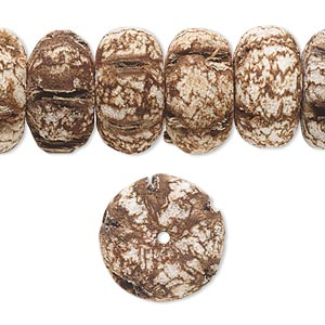 bead, mahogany tree seed (coated), 20x10mm rondelle. sold per 16-inch strand.