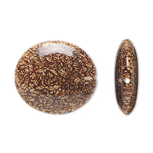bead, mahogany tree seed (coated), 30x25mm oval. sold individually.