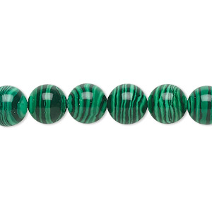 bead, malachite (imitation), dark and light green, 8mm round. sold per 16-inch strand.