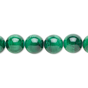 bead, malachite (natural), 12mm round with 0.5-1.5mm hole, b grade, mohs hardness 3-1/2 to 4. sold per 8-inch strand, approximately 15 beads.