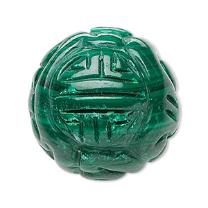 bead, malachite (natural), 16mm carved round, a grade, mohs hardness 3-1/2 to 4. sold individually.
