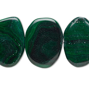 bead, malachite (natural), 23x17mm-28x20mm non-uniform flat oval, c grade, mohs hardness 3-1/2 to 4. sold per 8-inch strand.