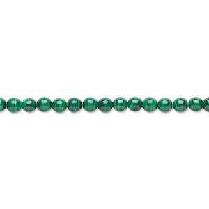 bead, malachite (natural), 4mm round with 0.5-1.5mm hole, b grade, mohs hardness 3-1/2 to 4. sold per 8-inch strand, approximately 45 beads.