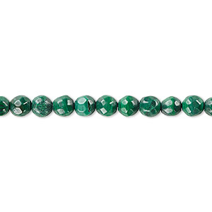bead, malachite (natural), 6mm faceted round with 0.5-1.5mm hole, b grade, mohs hardness 3-1/2 to 4. sold per 8-inch strand, approximately 35 beads.