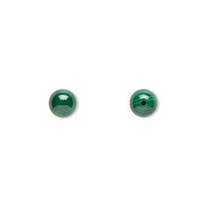 bead, malachite (natural), 6mm half-drilled round, b grade, mohs hardness 3-1/2 to 4. sold per pkg of 2.