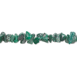 bead, malachite (natural), mini to small chip, mohs hardness 3-1/2 to 4. sold per 36-inch strand.