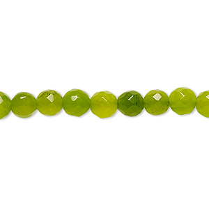 bead, malaysia jade (dyed), apple green, 5-6mm faceted round, c grade, mohs hardness 7. sold per 14-inch strand.