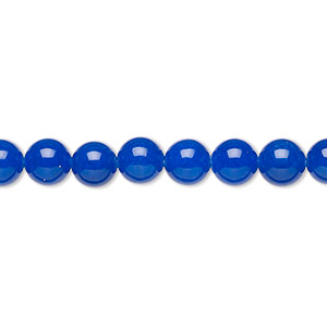 bead, malaysia jade (dyed), cobalt, 6mm round, b grade, mohs hardness 7. sold per 16-inch strand.