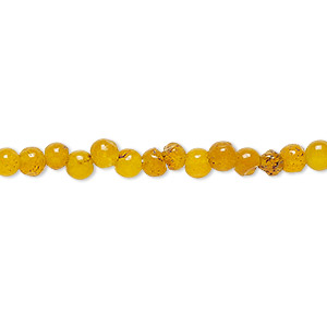 bead, malaysia jade (dyed), dark golden yellow, 4mm round, d grade, mohs hardness 7. sold per 15-inch strand.