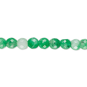 bead, malaysia jade (dyed), light green, 5-6mm faceted round, c- grade, mohs hardness 7. sold per 14-inch strand.