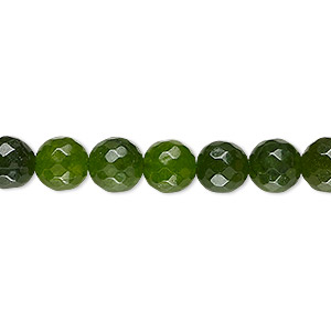 bead, malaysia jade (dyed), olive green, 7-8mm faceted round, c- grade, mohs hardness 7. sold per 14-inch strand.