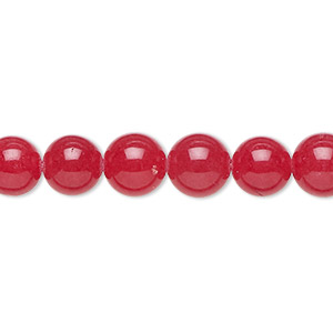 bead, malaysia jade (dyed), red, 8mm round, b grade, mohs hardness 7. sold per 16-inch strand.