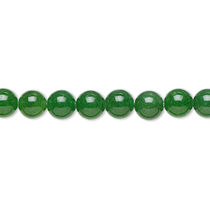 bead, malaysia jade (dyed), translucent green, 6mm round, b grade, mohs hardness 7. sold per 16-inch strand.