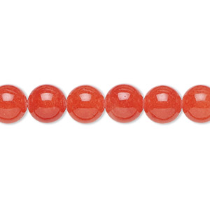 bead, malaysia jade (dyed), watermelon, 8mm round, b grade, mohs hardness 7. sold per 16-inch strand.
