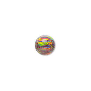 bead, mexican opal (man-made), multicolored, 10mm half-drilled round. sold individually.