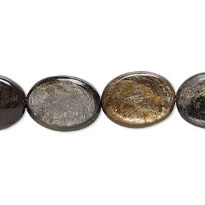 bead, mica (coated), 16x12mm flat oval, b grade, mohs hardness 2. sold per 16-inch strand.