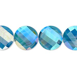 bead, millefiori glass, marbled aqua blue ab, 14mm faceted wavy flat round. sold per 8-inch strand, approximately 15 beads.