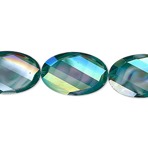 bead, millefiori glass, marbled teal ab, 20x13mm faceted wavy oval. sold per 8-inch strand, approximately 10 beads.