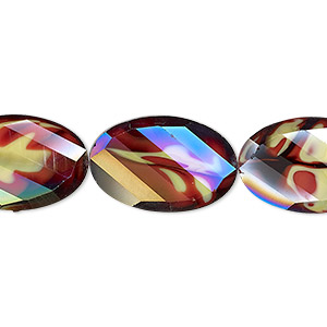 bead, millefiori glass, marbled yellow and red ab, 20x13mm faceted wavy oval. sold per 8-inch strand, approximately 10 beads.